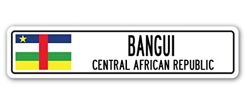 Cortan360 BANGUI, CENTRAL AFRICAN REPUBLIC Street Sign Decal African flag city country ro gift 8