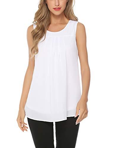 Aibrou Plus Size Swing Lace Flowy Tank Top for Women White -