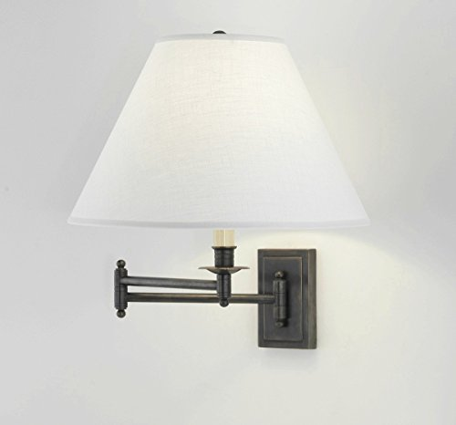 Robert Abbey Z1504ALT Kinetic - One Light Wall Swinger, Deep Patina Bronze Finish with Oyster Linen Shade (Bronze Abbey Arm Swing)