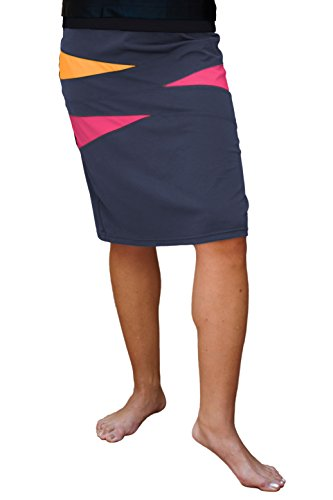 HydroChic Plus Size 25'' Swim Skirt/Shorts 3X In Charcoal Grey/Papaya/Watermelon by HydroChic