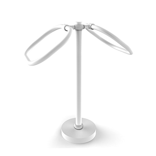 Allied Brass TB-20T-WHM Two Ring Oval Guest Towel Holder Matte White (Oval Allied Towel Ring)