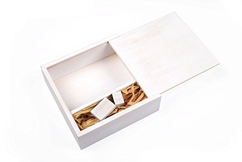 Antique Maple 16GB USB Flash Drive - Stained in Wedding White - Inserted into a Matching Maple Photo Box with Raffia Grass Inside Holds up to 125 4x6 Photographs.