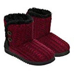 Dearfoams Ladies Sweater Knit Bootie (Medium 7/8, Red)