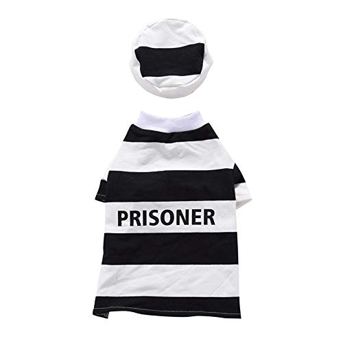D-ModernPet Dog Costume - Pet Prisoner and Policeman Cosplay Costumes for Halloween Christmas Sweater Suit Clothes for Dogs Cats Costume for a cat]()