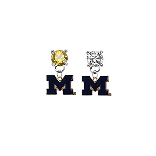 Michigan Wolverines Style 2 Gold & Clear Crystal Stud Post Dangle Earrings