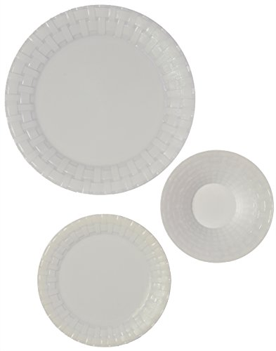 Party Joy 75-Piece Plastic Dinnerware Set | Weave Collection | (25) Dinner Plates, (25) Salad Plates  & (25) Bowls| Heavy Duty Premium Plastic Plates for Wedding, Parties, Camping & More (White) (Weave Plate)