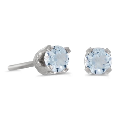 14k Genuine Aquamarine Earrings - 3 mm Petite Round Genuine Aquamarine Stud Earrings in 14k White Gold