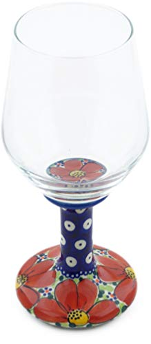 Polish Pottery 14 oz Wine Glass (Red Wildflower Theme) Signature UNIKAT + Certificate of Authenticity from Polmedia Polish Pottery