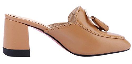 Cuero Cahousework Mujer 6 5cm Marrón Calaier Ponerse Zuecos Bloquear Zapatos wFXd6q
