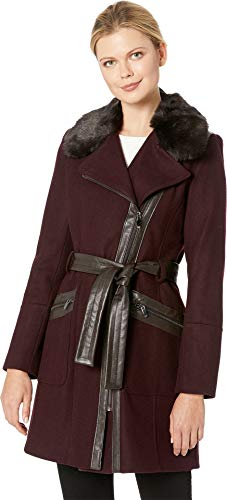 Via Spiga Women's Asymmetrical Belted Wool w/Lux Faux Fur Collar & PU Detail Wine 4 (Notched Coat Fur Collar)