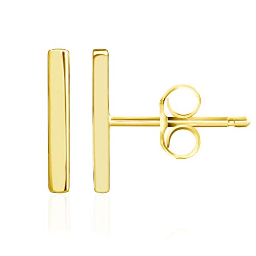 14k Yellow Gold Plated 925 Sterling Silver Plain Dainty Mini Bar Stud Earrings -