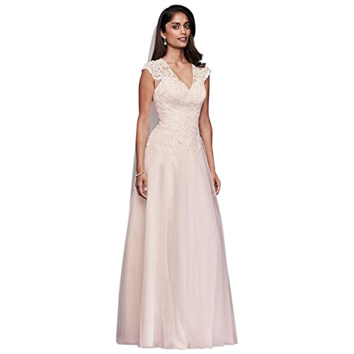 David\'s Bridal Tulle-Over-Lace V-Neck Ball Gown Wedding Dress Style ...