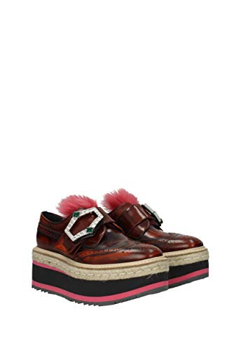 Donne Prada 1d905h Marrone In Monkstrap Lace Uk Up Pelle EqWBq7nwv