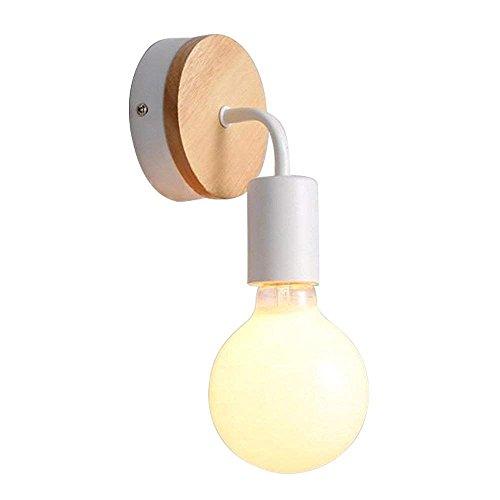 ZLHLL E27 LED Applique faretto da parete in Legno massiccio & Ferro Battuto Camera Lampade da parete moderni in Legno per la Camera da letto, soggiorno (Bianco)