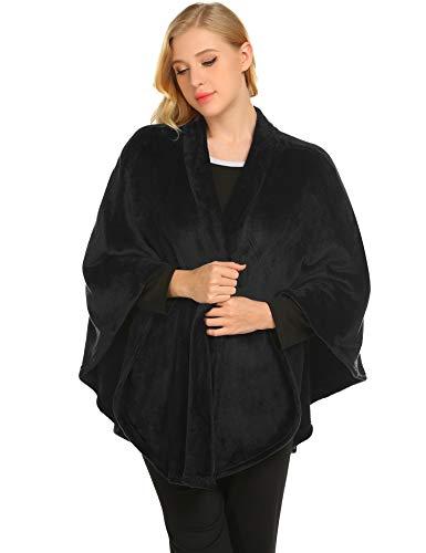 (Ekouaer Women's Cashmere Fleece Poncho Oversized Flannel Cape Scarf Coat Gardigan Warm)