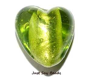 *HUGE SALE!* 10pcs x Murano Silver Foil Glass Heart Beads 12mm ~ GREEN ~ (Ref:5C36) Just Say Beads