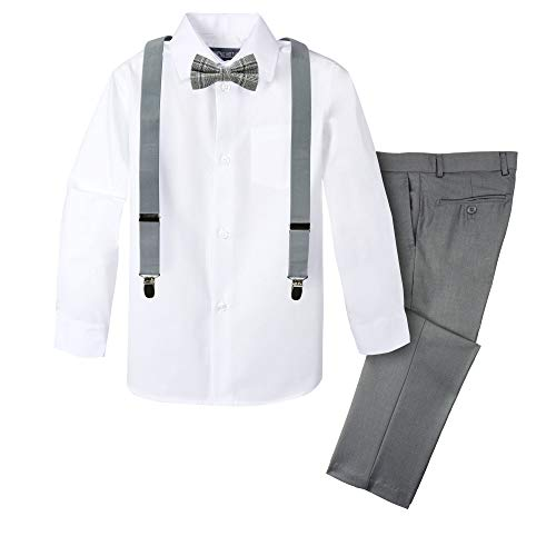 Spring Notion Boys' 4-Piece Plaid Suspender Outfit 08 Grey/Charcoal