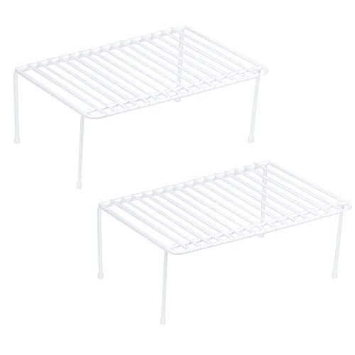 Helper Shelf Cabinet Organizer - DecorRack Set of 2 Small Counter Helper Wire Shelf, Kitchen Cabinet Shelf Organizer, Closet and Pantry Storage Extra Rack, Freezer Instant Space Organizer, Steel with White Plastic Coating