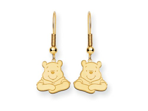 Disney Winnie the Pooh Dangle Wire Earrings Gold Plated Silver
