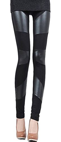 Grazing Women Faux Leather and Polyester Splice Skinny Stretch Leggings ,Black (3 Striped)