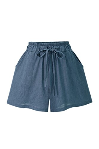 Taglia Da Pantaloni Le Ginnastica Cotone D'estate Pantaloncini Occasionali Blu Lino Donne I E Zojuyozio W1CwqZzw