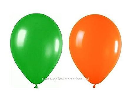 """25 x Verde Hoja & 25 x Naranja Globos (10"""") Belbal - Fiesta"""