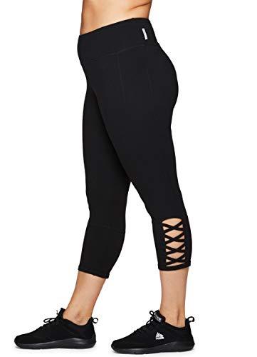e46b2d549a5839 RBX Active Women's Plus Size Strappy Cotton Spandex Capri Leggings S19  Black 1X