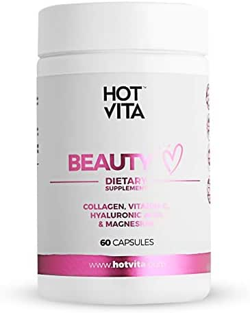 Hot Vita Beauty Supplement Pills – Anti-Aging Supplement Treatment for Hair Loss, Skin, and Nails with Collagen, Biotin, Magnesium, Vitamin C and Hyaluronic Acid