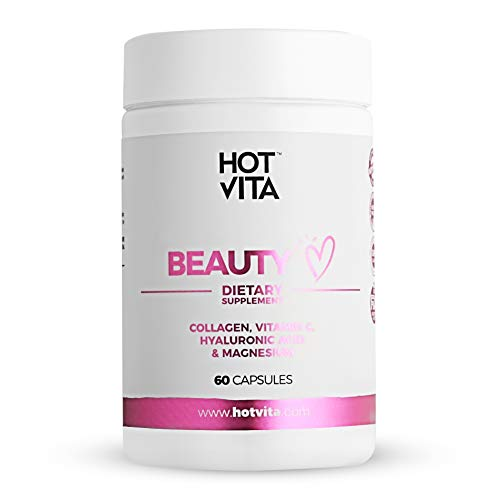 Hot Vita Beauty Supplement Pills - Anti-Aging Supplement Treatment for Hair Loss, Skin, and Nails with Collagen, Biotin, Magnesium, Vitamin C and Hyaluronic Acid