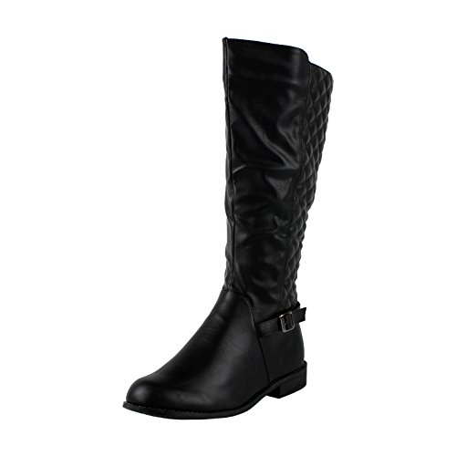 West Blvd Lahorev2.0 Quilted Quilted Boots, Black Pu, 8