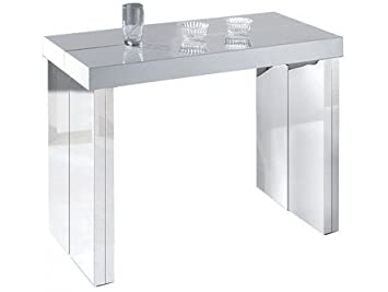table console extensible suprima 3 rallonges gris laquchrome couleur blancchrome taille 3 - Table Console Extensible Blanc Laque