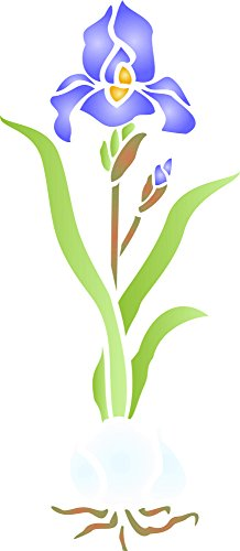 """Iris & Bulb Stencil - (size 4.5""""w x 10.5""""h) Reusable Wall Stencils for Painting - Best Quality Wall Border Flower Stencil Ideas - Use on Walls, Floors, Fabrics, Glass, Wood, Terracotta, and More..."""
