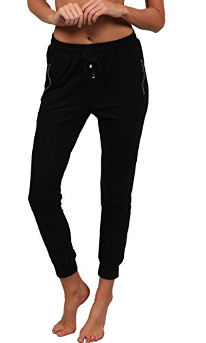 (INGEAR Women Super Soft Joggers Casual Sports Harem Running Tie Waist Yoga Pilates Pants Summer and Winter (Black, Large/X-Large))