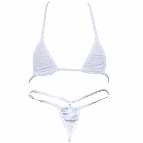 FEESHOW Women's Mini Bra Bikini 2pc Micro G-String Thong Swimwear White One size