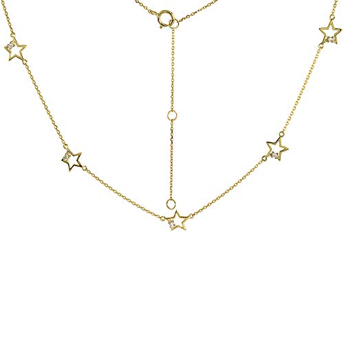 Dainty 14k Yellow Gold Diamond Star Station Necklace 16-18 ()