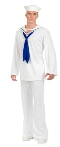White Sailor Suit Adult Costume - Small