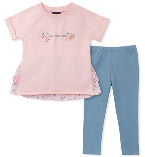 Calvin Klein Girls' Little 2 Pieces Legging Set Pants, Strawberry Cream/Blue, 4 -