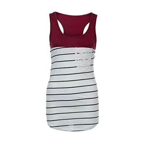 Women Vest, Fashion Women Striped Lace Pocket Tank Tops Sleeveless Shirts(Red-X-Large) (Stretch Dress Bustier Taffeta)