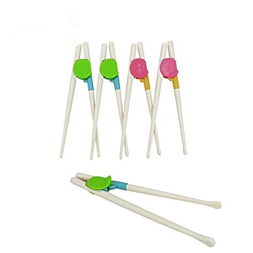 Wakaka 5 Pairs Chopsticks, Easy to Use Training Chopsticks for Children and Adults, Made With Non-Toxic Dishwasher-safe Reusable Chopstick Set (green and pink)