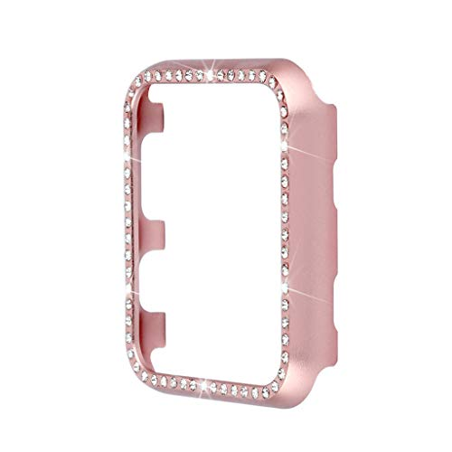 iTerk Compatible with Apple Watch Case 42mm, Women Girl Bling Shiny Crystal Diamond Rhinestone Protective Shell Frame Cover Protective for iWatch Series 3, Series 2, Series 1 (Rose Gold 42mm) ()