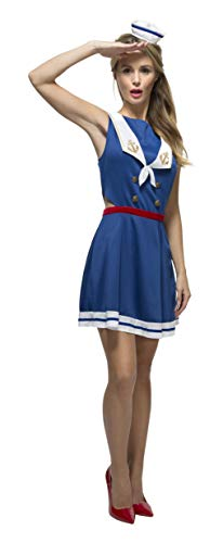 (Smiffys Women's Fever Hey Sailor Costume, Cut Out Dress, Attached Underskirt and Mini Hat, Uniforms, Fever, Size 2-4,)