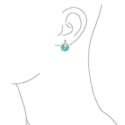 Created Blue Opal Nautical Tropical Beach Clam Sea Shell Stud Earrings For Women Sea Life 925 Sterling Silver