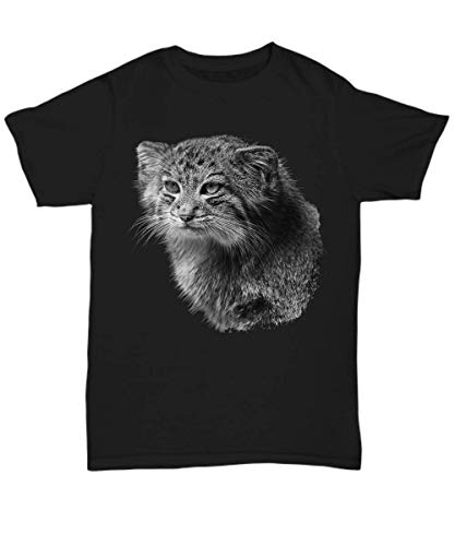 Pallas Cat Shirt Artful Gift - Manul Wild Animal on Black Unisex Tshirt ()
