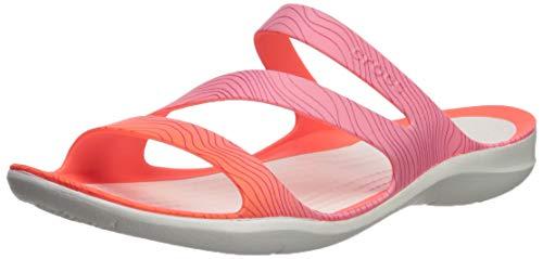 Crocs Women's Swiftwatersslw Slide Sandal, Bright Coral/White, 4 M US