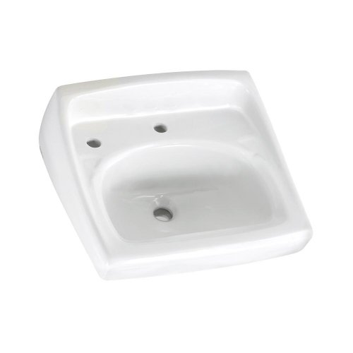 American Standard 0356.115.020 Lucerne Wall-Mount Lavatory Sink with Center and Extra Left Hand Hole, White (Mount Lavatory Sink Wall)