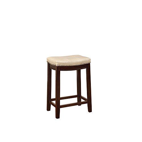 - Linon AMZN0272 Carson Cream Backless Counter Stool, Brown