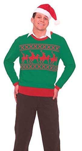 Feliz Halloween Para Hombres (Forum Novelties Men's Reindeer Games Novelty Christmas Sweater, Green/Red,)