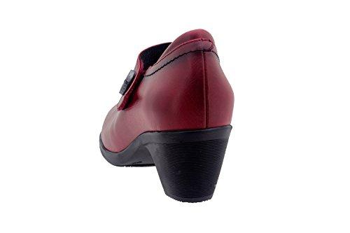 Calzado mujer confort de piel Piesanto 1480 merceditas zapato casual cómodo ancho Cereza