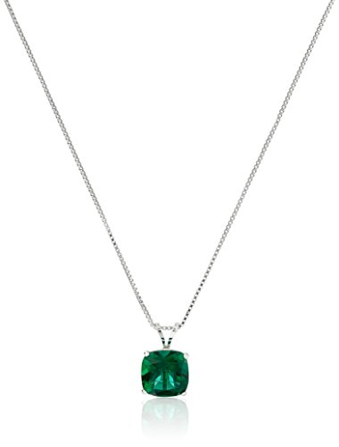 Sterling Silver Cushion-Cut Checkerboard Created Emerald Pendant Necklace (8mm)
