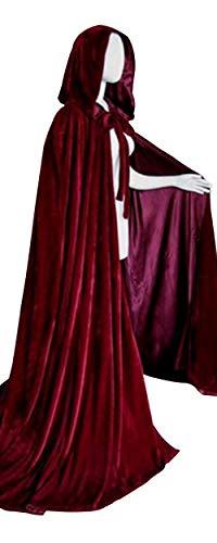 LETSQK Full Length Hooded Cloak Velvet Halloween Party Costume Cosplay Cape Burgundy